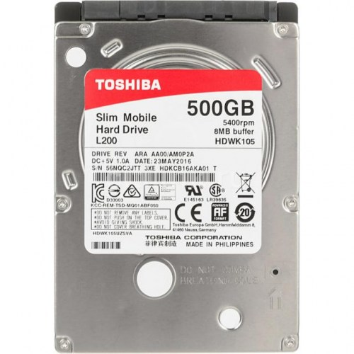 HDD TOSHIBA L200, 500GB, 5400rpm, 8 MB, SATA 6Gb/s, 7 mm HDWK105UZSVA